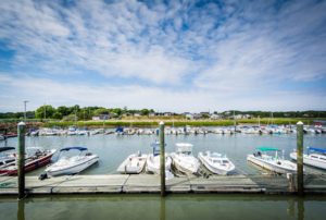 Boats docked in Wellfleet, Cape Cod, Massachusetts.